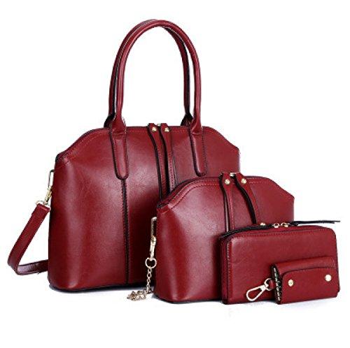 Donna Elegante Moda Tre Pezzi Nuovo Borsa A Tracolla Singola Borsa A Tracolla Inclinata Temperamento Colore Solido Borsa Red