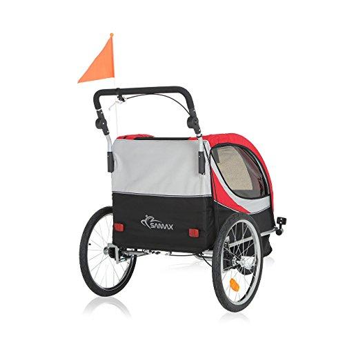 SAMAX PREMIUM Fahrradanhänger Jogger 2in1 360° drehbar Kinderanhänger Kinderfahrradanhänger Transportwagen vollgefederte Hinterachse für 2 Kinder in Rot/Grau - Silver Frame - 6