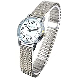 Ladies Easy Read Watch Silver Expandable Watch Stretchable Watch Retro Expander