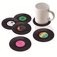 Retro Vinyl Record Coasters Funny Drink Holder Place Mat Set of 6