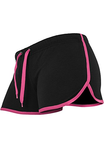 Ladies French Terry Hotpants blk/fuc XL - Mädchen Terry Shorts