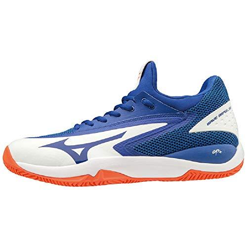 Mizuno Wave Impulse CC Scarpe da Tennis Uomo, Bianco (White/Reflex Blue/Nasturtium 27) 42.5 EU