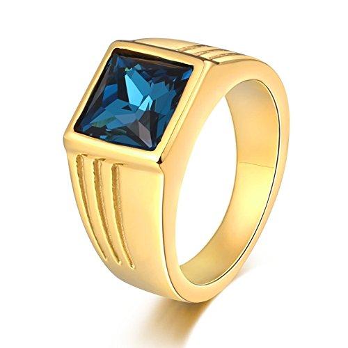 Bishilin Edelstahlringe für Männer mit Quadrat Blau Zirkonia Breite 10 MM Partnerringe Retro Ring Gold Größe 62 - Ringe Für Aventurin Männer