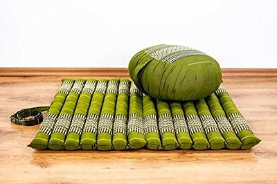 livasia Yogaset/Meditationsset der Marke Asia Wohnstudio: 1 x Zafukissen (Yogakissen) + 1 x Rollmatte (Meditationskissen) mit Reiner Kapokfüllung, Günstiges Set