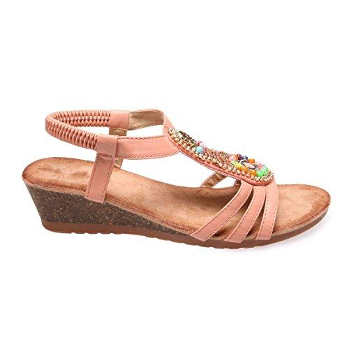 La Modeuse Sandales CompenséesFemme en SimiliCuir Rose