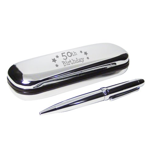 50th Birthday Pen and Engraved Silver Finish Box Gift Set