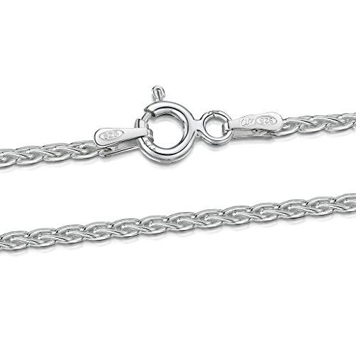Amberta® Bijoux - Collier - Chaîne Argent 925/1000 - Maille Spiga - Largeur 1.7 mm - Longueur 40 45 50 55 60 cm (60cm)
