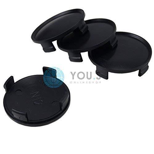 4x Chapeaux de Moyeux Enjoliveurs de Moyeux Couvercles de Jantes Noir Extérieur 74 mm Intérieur 71 mm Rial N12