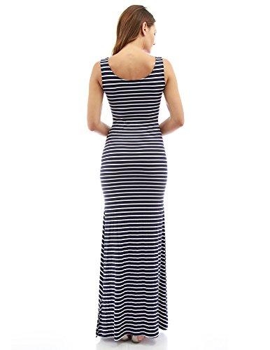 PattyBoutik Mama femmes robe longue stretch rayé maternité col rond sans manches bleu foncé et blanc