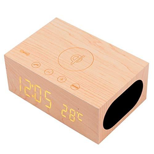 Ladegerät, mit Bluetooth-Stereo/NFC-Lautsprecherstation/LED-Uhrzeit für Wecker, 3,5-mm-Audio für MP3-Player, Laptop, Desktop und Dual-USB-Anschluss für das Home Car Office-Beige ()