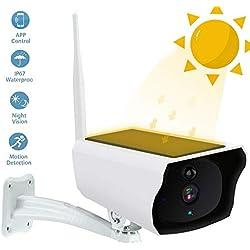 lesgos IP Kamera im Freien, 1080P WiFi Wireless Bullet Camera, IP67 wasserdichte Solar Überwachungskamera mit 15m Nachtsicht, Bewegungserkennung für Indoor Outdoor iOS Android (3)