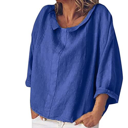 en, kurzärmelig, locker, lässiger O-Ausschnitt, T-Shirt, Tops, Tunika, Bluse, Damen, blau, XX-Large ()