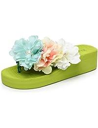 4.5cm Chancletas de la nueva manera de la manera del verano femenino (verde / azul / blanco / amarillo) ( Color : Amarillo , Tamaño : EU36/UK4/CN36 )