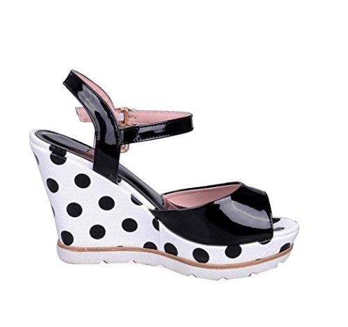 WZG Die neue kleine frische süße Komfort Hang mit hochhackigen Sandalen Fischkopf Schuhe Punktmuster Black