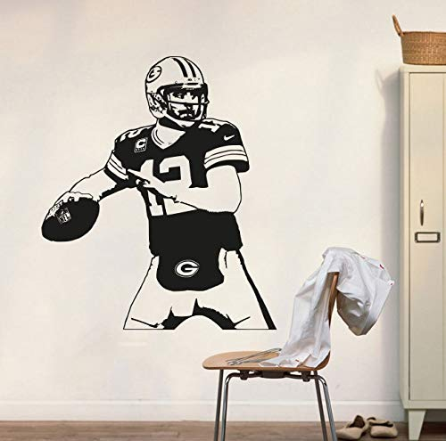 GUUTOP Green Bay Packers Aufkleber Aaron Rodgers Wandtattoo Art Decor Aufkleber Vinyl Poster Packers Wandbild Removable Home Decor 57 * 66 cm (Bay Decor Packers Green Home)