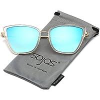SojoS Modern Women's Men's Ultra Light Metal Frame Mirror Flat Lens Sunglasses SJ1028 With Pink Frame/Pink Lens Cl2iS