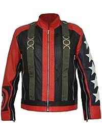 HLS U2 Bono 5 Stars on Sleeves Stylish Faux Leather Jacket XXS-5XL Red Black
