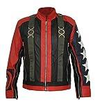 HLS U2 Bono 5 Stars on Sleeves Stylish Faux Leather Jacket (Medium) Red Black