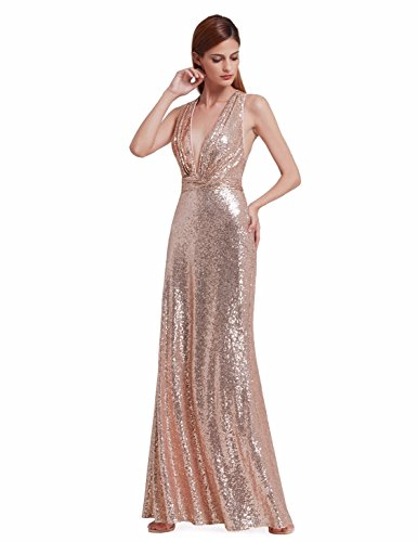 Ever-Pretty Robe de Soirée Longue Paillette Col V Maxi 40 Or Rose