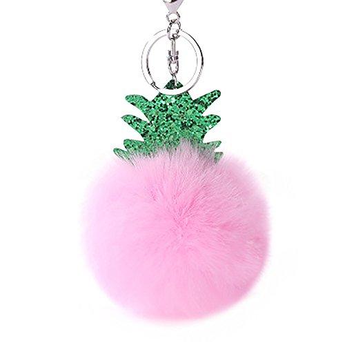 MOIKA Porte-clés Fashion Pineapple Fluffy Porte-clés Porte-Pompon de Bourse de Sac Pendentif Accroché(Rose)