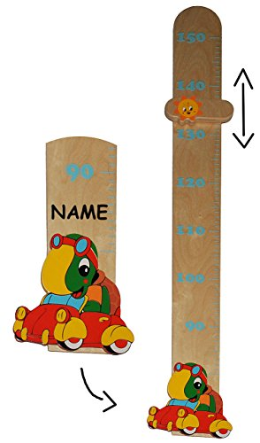 alles-meine.de GmbH Meßlatte -  Schildkröte im Auto  - aus massiven Holz - incl. Name - Messbereich von 80 cm bis 150 cm / Meßleiste Mädchen Jungen - für Kinder - Messlatte Kin..