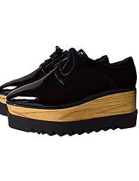 ZQ hug Zapatos de mujer - Tacón Plano - Punta Cuadrada - Oxfords - Casual - Semicuero - Negro / Rojo / Blanco , black-us8 / eu39 / uk6 / cn39 , black-us8 / eu39 / uk6 / cn39