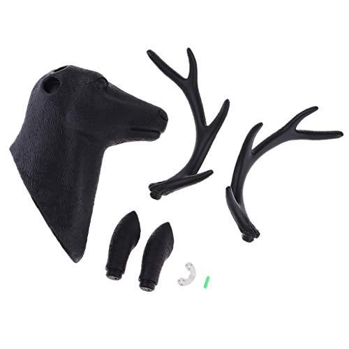 non-brand Baoblaze Esculturas Decorativas de Pared de Cabeza de Ciervo Ganchos Multiusos de Decoración de Pared - Negro