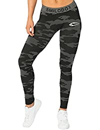 SMILODOX Camouflage Leggings Damen Army | Seamless - Figurformende Tight für Sport Fitness Gym Yoga | Sporthose - Workout Trainingshose - Tights Laufhose Camouflage
