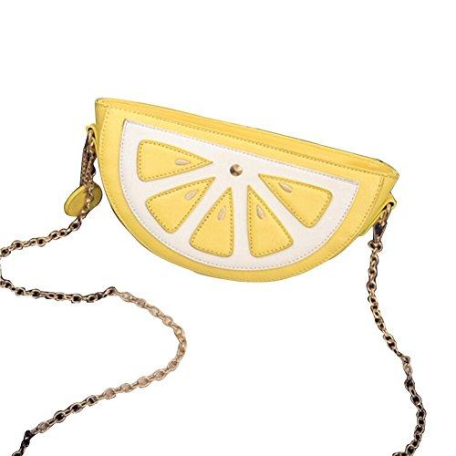 BZLine® Frauen gelbes Obst Paket Kette Orange Umhängetasche Messenger Taschen Süße Sommer-Beutel (Gelb) (Gelbe Stoff-handtaschen)