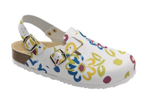 Wörishofener Fußform  Clog m. Fersenriemen,  Sabot/sandali donna (weiss)