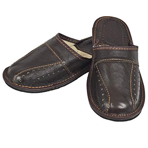 DF-SOFT Herren Herrenpantoffel Pantoffel Hausschuhe Haus Schuhe Leder Pantoffel Lederpantoffel Pantoletten Schlappen Modell 140, Braun, 42 EU