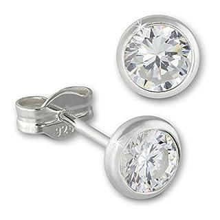SilberDream Ohrringe 5mm für Damen 925 Silber Ohrstecker Zirkonia weiß SDO5535W