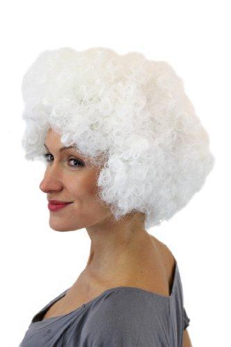 Faschingsperücke Perücke Geiler Weißer Afro Afroperücke Krasser Lockenkopf weiß Retro 70ies Hair PW0011-P60 (Weiße Clown Perücke)