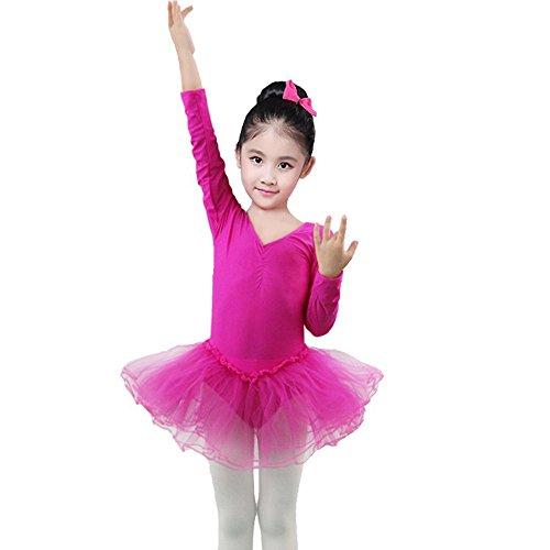 Xmiral Kleinkind Mädchen Gaze Trikot Bodysuit Dancewear Kleider Outfits Perfektes Kostüm für Rollenspiel Maskerade(2XL,Rosa Rot)