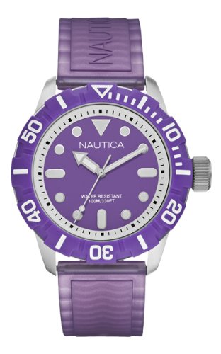 Nautica Men's Nsr 100 Watch A09606G with Purple Dial and Purple Silicone Strap