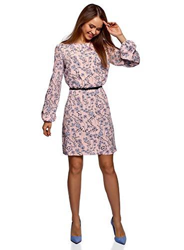 oodji Ultra Damen Viskose-Kleid mit Gürtel, Rosa, DE 38 / EU 40 / M