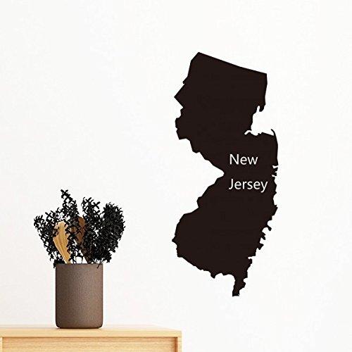 New Jersey der Vereinigten Staaten von Amerika USA Karte Silhouette abnehmbarer Wandtattoo Kunst Aufkleber Wandbild DIY Tapete für Raum Aufkleber 80cm (Staaten-map-kunst Vereinigte)