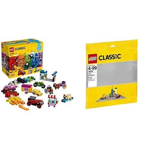 LEGO Classic 10715 - Kreativ-Bauset Fahrzeuge, Spielzeug &  Classic 10701 - Graue Bauplatte, Lernspielzeug