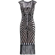 Metme Mujeres Franja decorativa del vestido de cóctel largo clásico de los años 20 adornada para