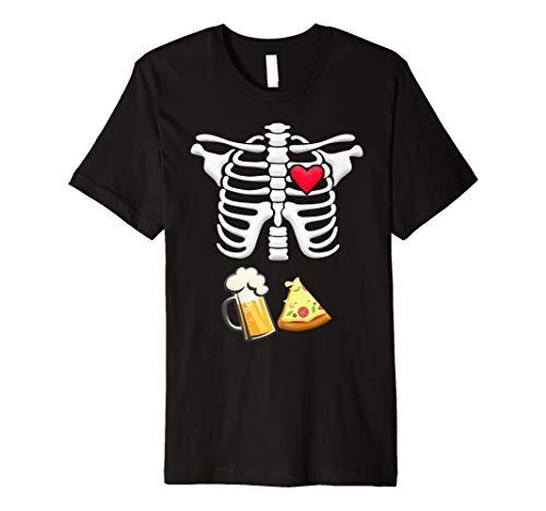 Bier und Pizza Schwangere Skelett Halloween Tshirt