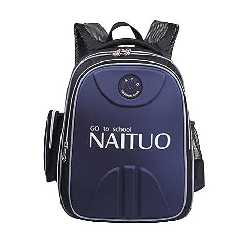 QPYC Rucksack Schultasche Grundschüler Studenten Jungen und Mädchen Kinder Tasche Sicherheit Reflektierende Tasche , Dark blue