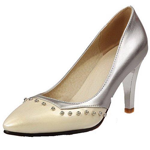 Allhqfashion Zehe Pumps Absatz Material Weiches Schuhe Eingelegt Hoher Damen Spitz Cremefarben 1pwr1S