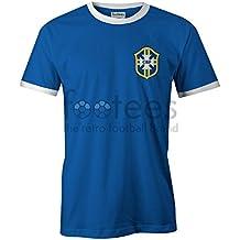 Retro Brasil Away–Camiseta de fútbol para hombre T Shirt No Oficial, verde y amarillo, XXL