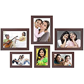 Amazon Brand - Solimo Collage Photo Frames, Set of 6,Wall Hanging (3 pcs - 4x6 inch, 3 pcs - 5x7 inch),Brown