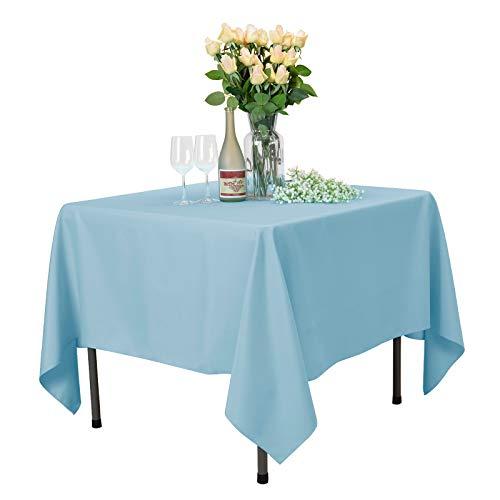 Veeyoo - tovaglia rotonda o quadrata in diverse misure, colore a tinta unita, ottima per apparecchiare la tavola per matrimoni, ristoranti, eventi, tessuto, baby blue, square-178 x 178 cm