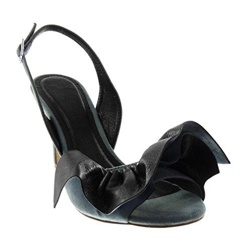 Angkorly Chaussure Mode Escarpin decolleté ouverte arrière bi-matière femme à volants boucle lanière Talon haut aiguille 9 CM Bleu