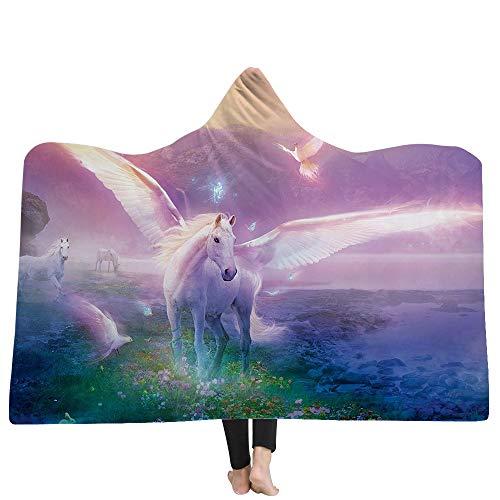 Puurbol Unicornio Encapuchado Mantas Pare Cama Lana Suave Calentar Usable Capa Lanzar para niños Adultos por PYHQ-UK
