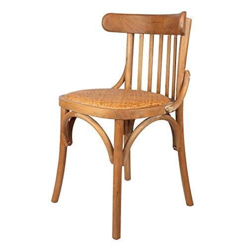 Decoración Vintage Storgan - Silla de madera y asiento de ratán, 48 x 50 x 46/77 cm