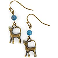 Prime Day £30% off Cat Earrings with Teal blue Apatite Gemstones, includes gift box