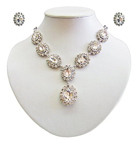 Barock Schmuck Set mit Schmucksteinen Kristall – Schöne Collier Kette mit passenden Ohrsteckern für Damen zum Barok Gothic Kostüm oder für festliche Anlässe